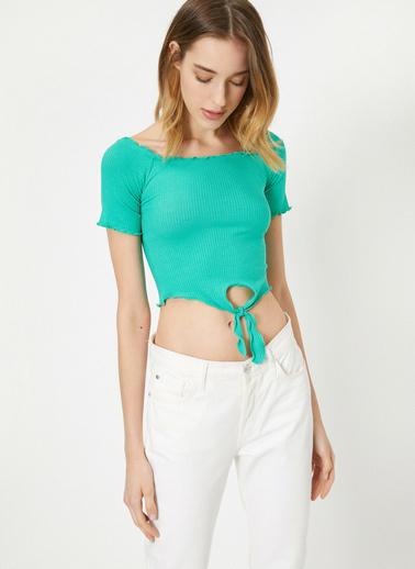 Koton Beli Bağlamalı T-Shirt Yeşil